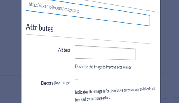 Screenshot of Alt Text entry form for an image