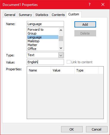 Document Properties - Custom tab