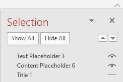 Slide Selection pane showing slide elements with title element hidden