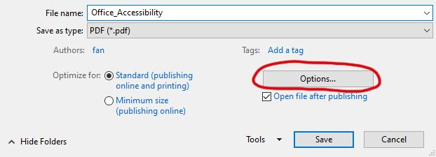 Save As dialogue box for PDF with Option... button circled